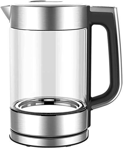 HadinEEon Wasserkocher mit Temperatureinstellung, Edelstahl Glaswasserkocher mit Beleuchtung 1.7L, 2200W Schnellkochender Glas Teekessel mit 1Std. Warmhaltefunktion, BPA-frei, Trockengehschutz