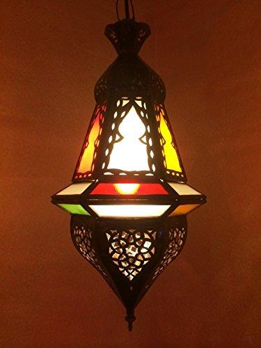 Orientalische Lampe Pendelleuchte Bunt Anya 35cm E14 Lampenfassung | Marokkanische Design Hängeleuchte Leuchte aus Marokko | Orient Lampen für Wohnzimmer Küche oder Hängend über den Esstisch