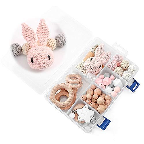 DIY Silikonperlen Schnullerkette,Baby Spielzeug Zahnen Silikon,Und Kaninchen,Perlen Beißring,Silikon-Perlen-Kit,Fünfzackige Stern-Clip,Holzperlen,Kinderkrankheiten Halskette Armband(BIG BOX/PINK)