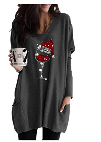 Fliegend Robe pull de Noël pour femme - Manches longues - Avec poches - Style décontracté - Tailles S-5XL - Gris - Taille XXL