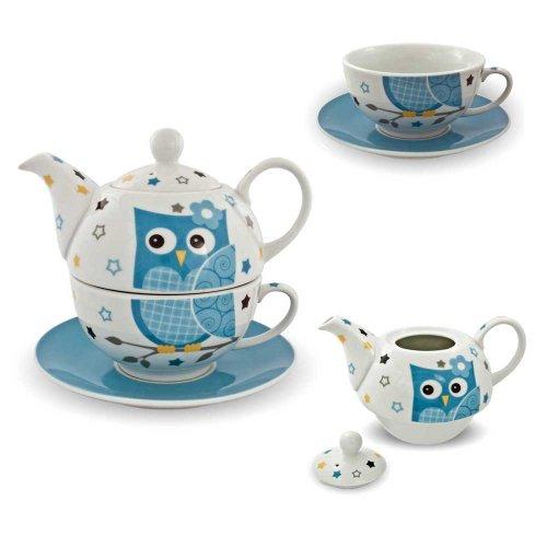 Set da tè in porcellana, per una persona, servizio da tè con motivo gufo, colore blu bianco con teiera, tazza, sottobicchiere.