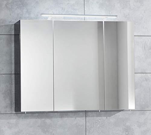 OPTIFIT OptiPremio Hochwertiger Badspiegel Spiegelschrank mit LED Beleuchtung Made IN Germany (Weiss glänzend)