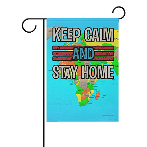SD3DPrint - Bandera para jardín con texto en inglés 'Keep Calm And Stay At Home Stop Coronavirus Covid-19', impermeable, para exteriores, 30,5 x 45,7 cm, poliéster, multicolor, 28x40(in)