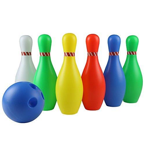 Bowling Jeu de 6 Bowling et 1 Bowling Ball Jeu extérieur Garden Family Society pour les enfants de 3 ans et plus (Large)