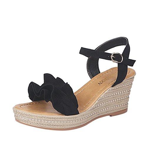 Logobeing Mujeres de La Manera Tacones de Cuña Ruffle Peep Toe Hebilla Correa Sexy Sandalias Bombas Zapatos (35, Negro)