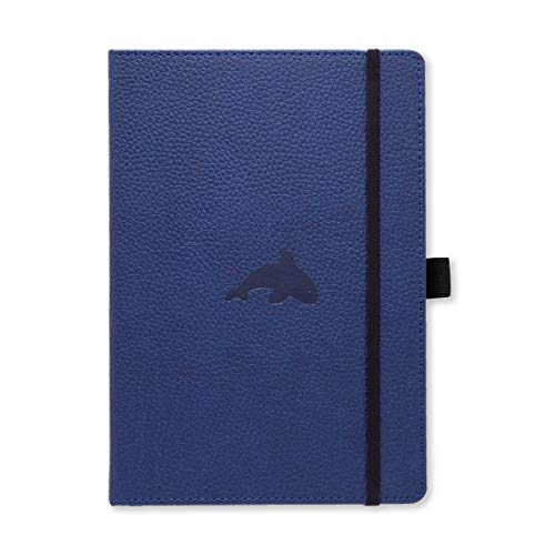 Dingbats Wildlife Medium A5 Hardcover Notebook  PU Leather MicroPerforated 100gsm Cream Pages Inner Pocket Elastic Closure Pen Holder Bookmark Lined Blue Whale