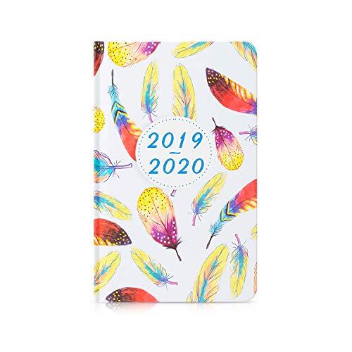 """Cabbrix 2019-2020 Planer Akademischer Jahresplaner für Wochen- und Monatskalender, mit Federmuster, Hardcover und Doppeldraht Bindung 5.5\""""x 8\"""""""
