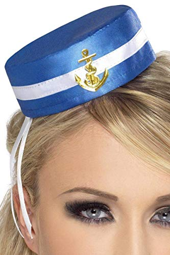 Smiffys Fever Damen Pillenbox-Matrosen Hut, One Size, Blau, 28885