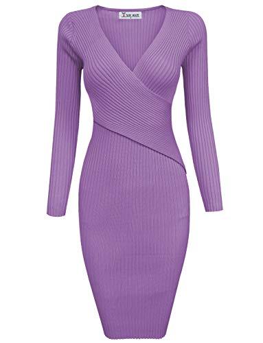 TAM WARE Womens Stylish Surplice Wrap Bodycon Knit Dress TWCWD157-PURPLE-XL