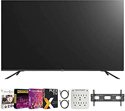 Hisense 55H8G 55-inch H8G Quantum Series 4K ULED Android Smart TV (2020) Bundle with Premiere Movies Streaming 2020 + 30-70 Inch TV Wall Mount + 2X HDMI Cable + 6-Outlet Surge Adapter