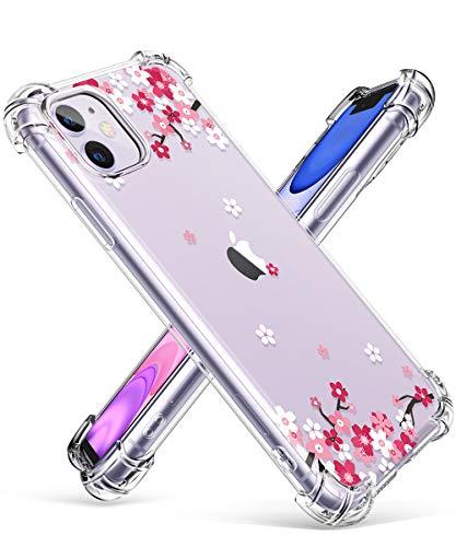 GVIEWIN iPhone 11 Case, Clear Flower Design Soft & Flexible TPU Ultra-Thin