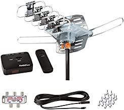 FiveStar Outdoor HDTV Antenna 2019 Newest Model Up to 150 Miles Long Range with Motorized 360 Degree Rotation, UHF/VHF/FM Radio with Infrared Remote Control Advanced Design Plus Installation Kit