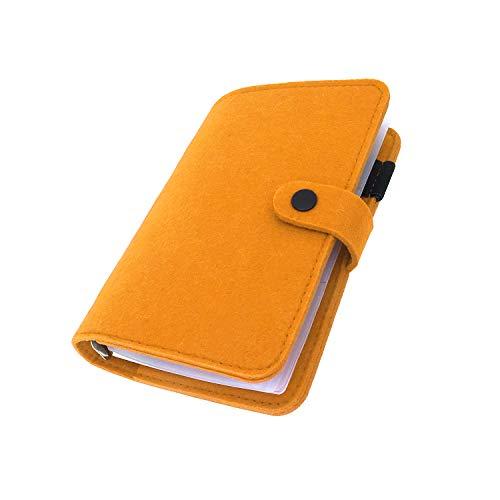 手帳 バインダー紐 システム カバー6穴 フェルト マテリアルシステムハンドブックビジネス学生6リングA5 A6ペンカード入れ, Orange 10, A5 mini set