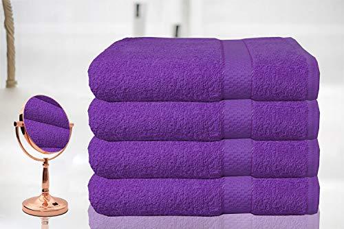 Casabella - Juego de 4 toallas de baño grandes de algodón egipcio peinado, tamaño grande., 100% algodón, Morado, 4 Bath Sheet