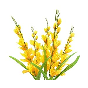 GF Artificial Silk Flowers Gladiolus Bush 26″ Bouquet Yellow Color MG019