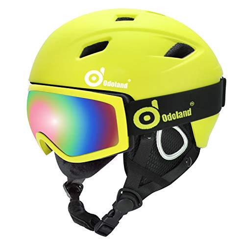 Odoland Set di Casco da Sci con Occhiali da Sci, Unisex Casco Sportivo per Adulti Giovani e Bambini,...