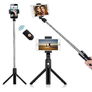Phone Tripod, doosl Bluetooth Selfie Stick Tripod- Extendable Tripod Stick with Remote - Facetime Phone Stand, Wireless Selfie Stick Tripod, Portable Tripod for Phone (Black)