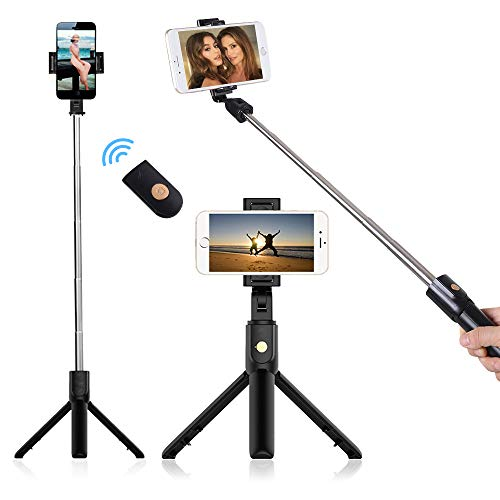 doosl Stativ Smartphone, Handy Selfie Stick Bluetooth Smartphone Tripod Stativ Selfie-Stick-Stativ mit Spiegeln für iPhone 11/XR/X/8/7/6, Samsung Galaxy S20/S9/S8/S7, Huawei, Gopro/Kleine Kamera
