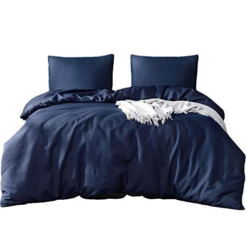 Bettwäsche Set 200 x 220 cm Dunkelblau Bettwäsche 100% Weiche Mikrofaser Schlafkomfort - 1 Bettbezug 200x220 mit Reißverschluss + 2 x Kissenbezüge 80 x 80 - 10 Jahre Garantie - dunkelblau