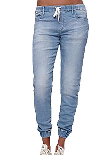 Domorebest Damen Retro Boyfriend Style Jeans Elastic Band & Drawstring Hose Damenhose mit Schnürjeans