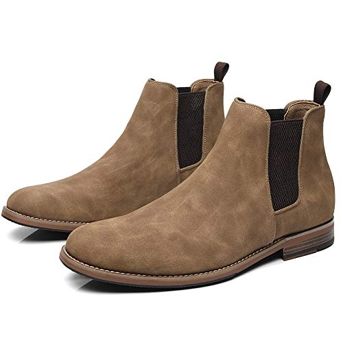 Cestfini Mens Casual Chelsea Slip On Boots, Suede Fashion Dress Boots for Men and Formal Ankle Oxford Boots RTM03-CAMEL-13