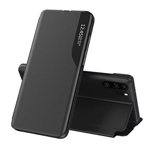 Suhctup - Funda de piel compatible con Samsung Galaxy S10 Plus, ultrafina, transparente, con espejo magnético, protección para Galaxy S10 Plus, plegable, soporte de poliuretano, color negro