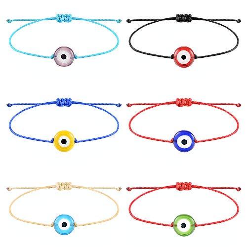 Tarsus Handmade Evil Eyes Bracelet Adjustable Ojo Turco Kabbalah Red String Amulet Nazar Bracelets for Family Bestfriend Women Men 6 Pcs