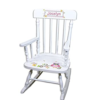 Children s Personalized White Pink Owl Rocking Chair