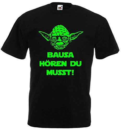 Master Yoda Herren T-Shirt Star Wars Spruch Bausa hören du musst!