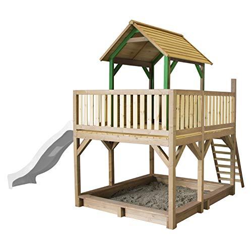 AXI Spielhaus Atka mit Sandkasten & weißer Rutsche | Stelzenhaus in Braun & Grün aus FSC Holz für Kinder | Spielturm mit Wellenrutsche für den Garten