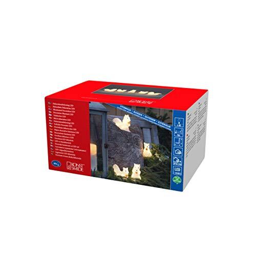 Konstsmide, 6287-103, LED Acryl Eichhörnchen, 5er-Set, klar,24V, Aussen (IP44), 40 warm weiße Dioden, weißes Kabel