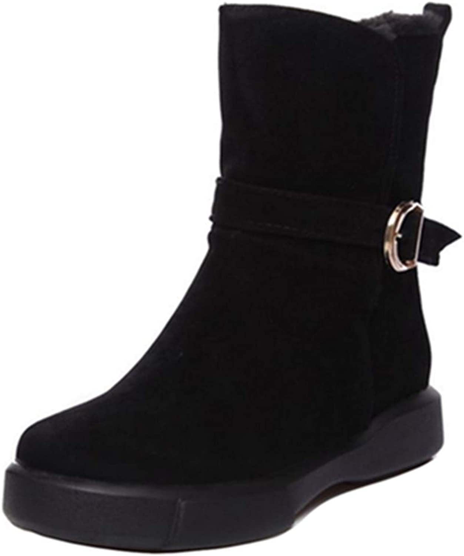 Smilice Women Casual Boots Platform Mid-Calf Cowboy Boots