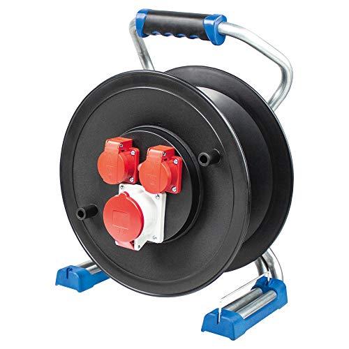 as - Schwabe Xperts CEE Leer-Kabeltrommel für 25 m Kabel – Verlängerungskabel-Trommel ohne Leitung – 2 Schuko-Dosen (230 V, 16 A) + 1 CEE-Dose (400 V, 16 A, 5-polig) – IP44 – Made in Germany I 22650