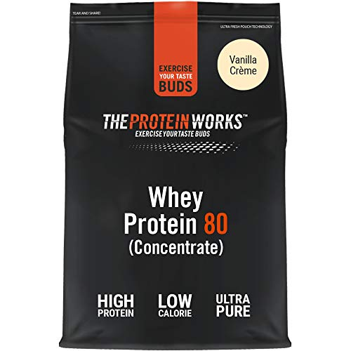 The Protein Works Whey Protein 80 (Concentrate) Shake Powder, Vanilla Crème, 2 kg