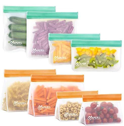 Sacchetti portaoggetti riutilizzabili - Confezione da 8 Pezzi Borsa a Tracolla a Chiusura Lampo Extra Thick per organizzazione di conservazione Alimenti
