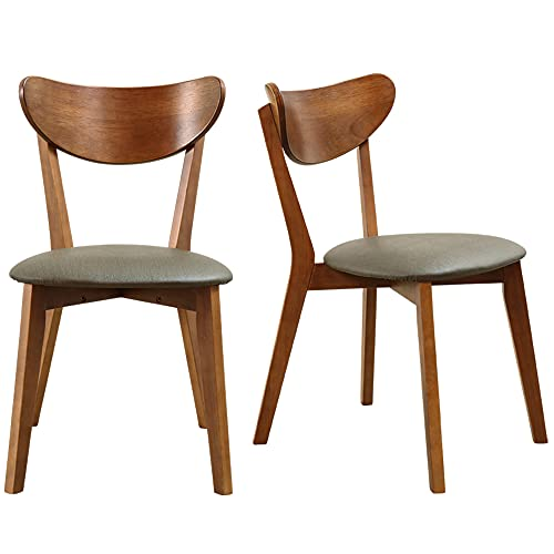 Zerifevni Dining Chair Rubber Wood Ergonomic Upholstered Small Modern Kitchen Chairs Set of 2