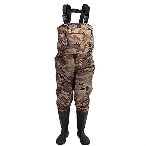 Fliegenfischen Brustwaterne Kleidung Wasserdicht Atmungsaktive Strumpf Fuß Fluss Waterrosen Hosen für Männer und Frauen Niedrutschuhe Schuhe Stiefel (Color : Camouflage, Size : 46)