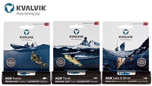 Kvalvik Fisch Lockstoff 20g - Lockmittel zum Meeresangeln auf Dorsche, Heilbutts & Forellen, Fischlockstoff zum Angeln, Geschmack:Dorsch
