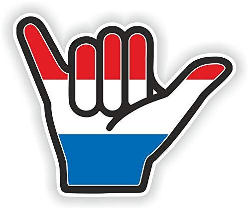Nederland Shaka Hand Hang Losse Vinyl Sticker voor Auto Motorfiets Fiets Bagage Skateboard Laptop Gitaar Stickers - 4 Inch