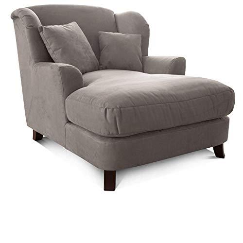 Cavadore XXL-Sessel Assado / Großer Polstersessel mit Holzfüßen und großer Sitzfläche / Inkl. 2 Zierkissen / 109 x 104 x 145 / Mikrofaser Anthrazit