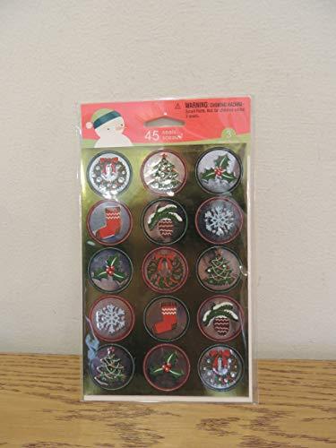 Stickety Doo Da Christmas Seals Stickers - 45 Round stickers wreath tree holly mistletoe