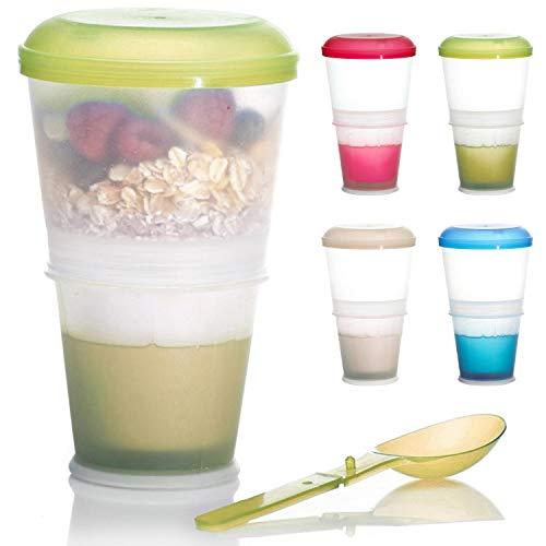Taza de cereales para llevar 2 tazas de viaje con compartimento aislado para la leche y cuchara plegable con tapa hermética para el trabajo, la universidad, los viajes, los picnics y mucho más