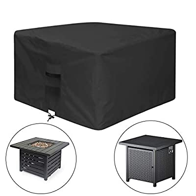 """venrey Fire Pit Cover Square 32""""x 32""""x 24"""", 600D Heavy Duty Waterproof Breathable Oxford Fabric Patio Fire Table Cover, Fits for 28/30/31/32 Inch Fire Pit/Table, Indoor/Outdoor - Black"""