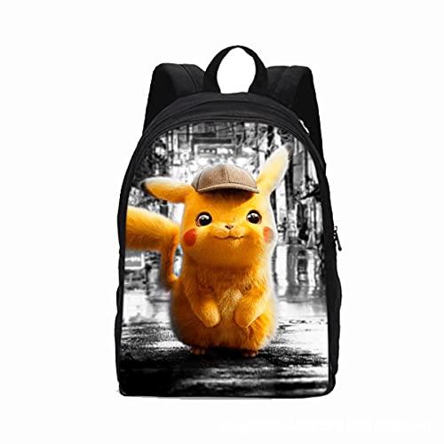 DVG Detective Pikachu, la Misma Mochila de computadora de Doble Capa Casual Creativa, Mochila de Gran Capacidad, Transpirable y cómoda