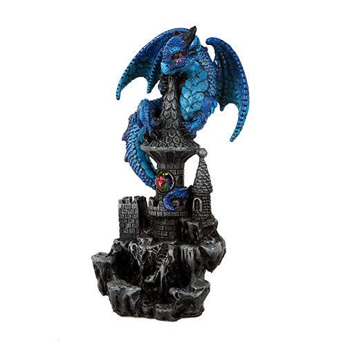 Pacific Giftware Small Guardian Dragon Protecting Castle with Rhinestone Rock Crystal Tabletop Decor Collectible Figurine Gift