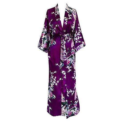 LXDWJ Pavo Real de Mujeres Kimono Robe Atractiva Floral Bridal Robas de Dama de Honor Mujer Flor Fiesta Boda Larga Ropa de Dormir Albornoz (Color : E, Size : Large)