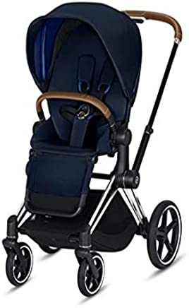 Cybex 2019 Priam 3 Complete Stroller in Indigo Blue with Chrome/Brown Frame