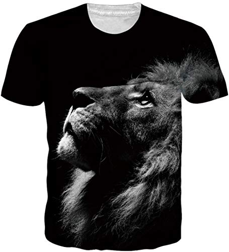 Loveternal Löwe T-Shirt 3D Druck Casual Grafik Kurzarm Tops Tees für Frauen Männer XL