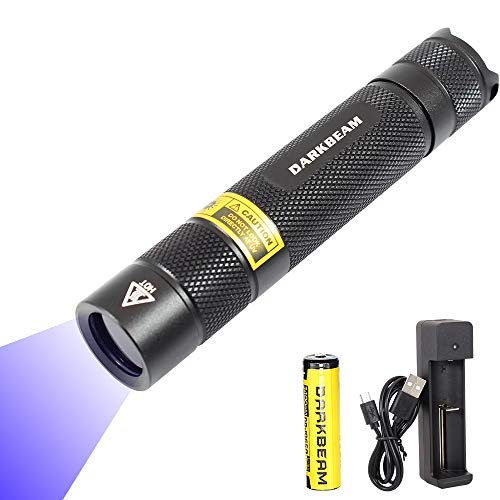 DARKBEAM B01 10W UV 365nm Blacklight Flashlight wood s lamp Black lights Portable Rechargeable Ultraviolet Handheld Scorpion for Pet Urine Detector Resin Curing with18650 Battery