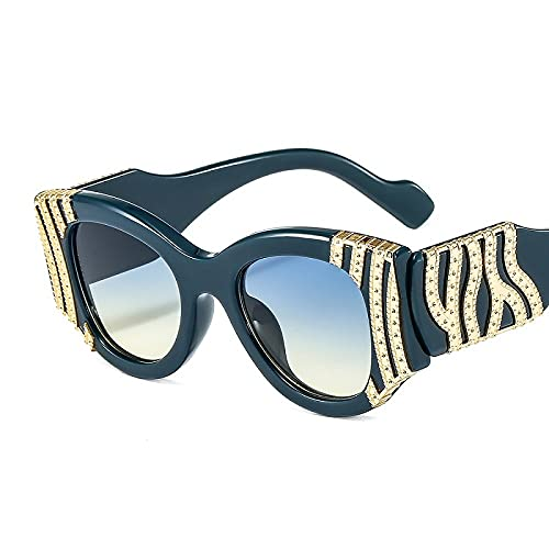 DGSDFGAH Gafas De Sol Mujer Gafas De Sol Polarizadas para Hombres/Mujeres Retro Moda Unisex Gafas De Sol Decorativas Metalizadas Lente Retro Degradada Azul Oscuro
